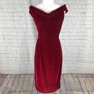 Red Velour Off Shoulder Slinky Cocktail Dress